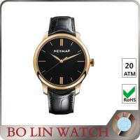 Wholesale PVD Rose Gold Case & Hands Mens Leather Dress Watch Classic Design from china suppliers