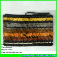 Wholesale LUDA colorful summer straw handbag zipper closure raffia straw clutch handbag from china suppliers