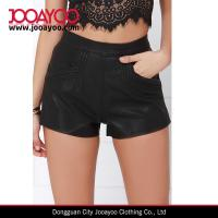 Wholesale Blank NYC Air Guitar Four Pocket Banded Waist Black Vegan Leather Shorts from china suppliers