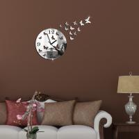 Quality Butterfly 3D Wall Clock Mirror Clock Home Decoration Metal Quartz DIY Mirror Wall Clock for sale