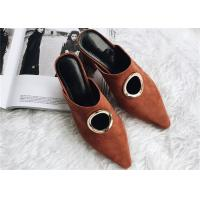 Wholesale Brown Chunky Heel Mules , Suede High Heel Mules With O Shape Hollow Metal Buckle from china suppliers