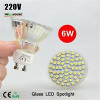 Wholesale NEW LED Spotlight GU10 lamp 6W AC 220V Heat-resistant Glass Body 3528 SMD 60LEDs White/Warm White LED Bulbs lighting from china suppliers