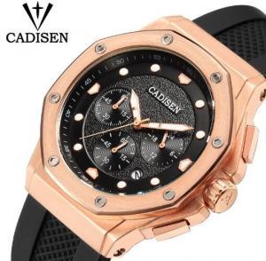 Buy cheap CADISEN Men Silicone Band Multifunction Waterproof 30m Chronograph Wrist Watch Fashion Style Men Quartz Watch C9058 from wholesalers