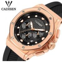 Buy cheap CADISEN Men Silicone Band Multifunction Waterproof 30m Chronograph Wrist Watch Fashion Style Men Quartz Watch C9058 from wholesalers