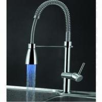 Wholesale LED kitchen faucet, made of brass body and zinc handle, with chrome plating from china suppliers