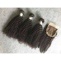 Wholesale Full and Thick Peruvian Human Hair Weave Unprocessed with Kinky Curly Closure from china suppliers