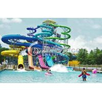 Wholesale Family Open Spiral Slide Water Park Equipment , Blue Red Green Fiberglass Spiral Water Slide from china suppliers