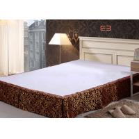 Wholesale Brown Color Hotel Bed Skirts With Jacquard Logo Special Design BS-0010 from china suppliers