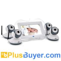 Wholesale Digital Wireless Baby Monitor with 4 Cameras (7 Inch Screen, 1/4 CMOS, Night Vision, 100m) from china suppliers