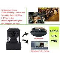 Wholesale Live Monitoring 3g Wifi Gps Police Body Cameras , Body Worn Camera 1440p Resolution from china suppliers