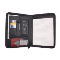 Wholesale Business Zippered Padfolio w Calculator, Notepad Organizer Leatherette Black from china suppliers