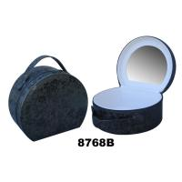 Wholesale Round Ladies Makeup Box With Mirror , Paper Custom Train Case Makeup Bag from china suppliers