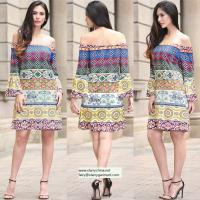Buy cheap strapless short printed women dress with pattern design in puff sleeve from wholesalers