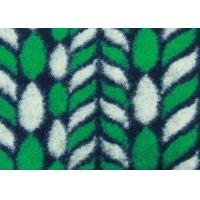 Quality Green Leaves Pattern Hand Woven Wool Fabric , Patterned Knit Wool Mix Fabric for sale