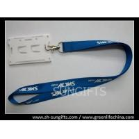 Wholesale Blue custom printing lanyard with white hard ID card holder from china suppliers