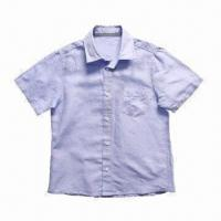 China Boy's shirt/kid's clothes/children's shirt/made of 55% cotton and 45% linen, short sleeve on sale