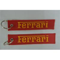 Quality Ferrari Sports Car Embroidered Key Chain Fob 13 x 2.8cm 100pcs lot for sale