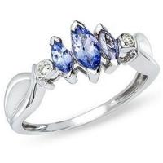 Wholesale Tanzanite and Diamond 14K White Gold Three Stone Ring from china suppliers