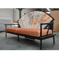 Quality Artistic Wooden Frame Hotel Lobby Sofa Set / Orange Velvet Upholstered Couches Sofas for sale