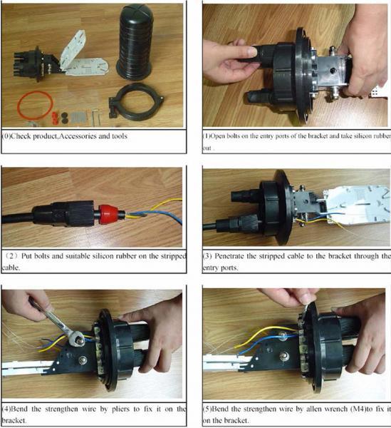 24/48/720-core Dome FTTH Waterproof Vertical Fiber-optic Splice Closures, 7-20mm Diameter