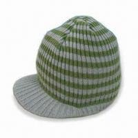 Wholesale Kids Striped Rib Beanie with Peak, Made of 100% Acrylic from china suppliers