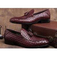 Wholesale Pointed Moc Toe Mens Woven Leather Loafers , Burgundy Mens Dress Shoes With Tassels from china suppliers