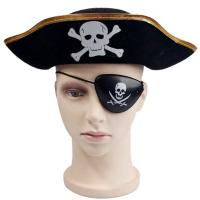 Wholesale Decorative Black Halloween Pirate Hat , Unique Funky Festival Hats Skull Patterned from china suppliers