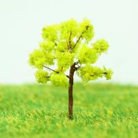 Wholesale Plastic Miniature Model Trees Yellow Green Avenue Planting Wire Tree 3.5cm from china suppliers