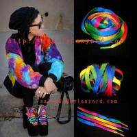 Wholesale 120cm Rainbow Multi-Color Flat Sports Shoe Laces String Straps For Unisex Rainbow Shoelace from china suppliers