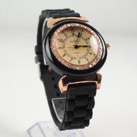 Wholesale Women Men's WOMAGE Rubber Quartz Jelly Candy Wrist Watch Black from china suppliers