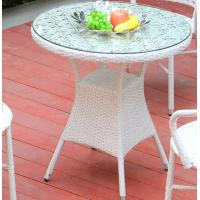 Wholesale 2 seater home terrace small cafe rattan white furniture set glass top table and folding chairs outdoor from china suppliers