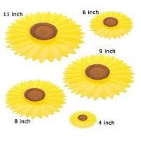Quality 5 Pack Sunflower Food Storage Silicone Suction Lid Set for sale