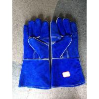 "Wholesale Blue Cow Split Leather 14"" Safety Working Gloves Reinforced Palm Kevlar Stiched Full Lining from china suppliers"