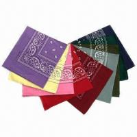 Wholesale 22 x 22-inch Bandanas, Made of Cotton/Polyester, Customized Designs are Welcome from china suppliers