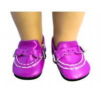 Wholesale Purple PU Cute Doll Shoes Metal Button18 inch Doll Accessories from china suppliers