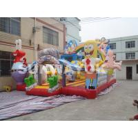 Wholesale Colourful Spongebo Inflatable fun park combo bouncers 18Oz PVC tarpaulin from china suppliers