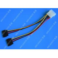 Wholesale 4P Molex To Dual SATA Flat Wire Harness And Cable Assembly Black Red Yellow With Y Cable Adapter from china suppliers