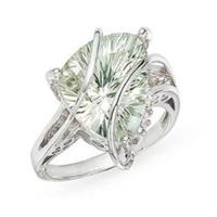 Wholesale Ring(Trillion-Cut Green Amethyst and Diamond 14K White Gold Ring) from china suppliers