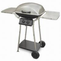 China Stainless Steel Four-burner Gas Barbecue Grill with Wheel and Cast Iron Heating Stove on sale