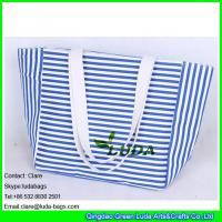 Wholesale LDFB-015 striped canvas totes white cotton braid handles beach canvas bag from china suppliers