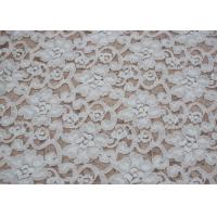 Fashion Brushed White Lace Fabric Flower Shape , Stretchable 135cm Width CY-LQ0042