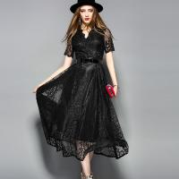 Wholesale Black wholesale  Belted Lace Dress for Women Clothing with zipper from china suppliers