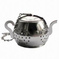 China Stainless Steel Tea Infuser/Strainers in Teapot Shape, with Tea Rest Plate on sale