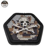 Wholesale Hexagon Skull Crossbones Custom Cloth Patches Fashion 3D Embroidery Technics from china suppliers