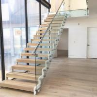 Wholesale Modern design steel structure staircase with side mounted glass balustrade from china suppliers