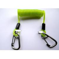 Wholesale Green Transparent Retractable Safety Lanyard Spring Spiral Coil Cable With Safety Hooks from china suppliers