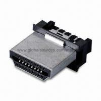 Buy cheap HDMI A Connector 19-pin Male Solder Type with Brass Shell and LCP Insulator from wholesalers