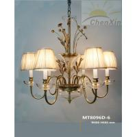 Wholesale Yellow Fabric Chandelier Pendant Lights / Bedroom Hanging Chandelier Lamp Glass Holder from china suppliers