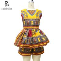 Wholesale Sleeveless Top Two Pieces Short African Print Pants Suit , Latest Fashion African Wear Designs from china suppliers