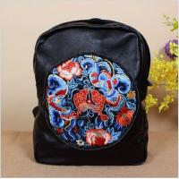 Wholesale 2017 wholesale women fashion designer genuine leather backpack with Embroidery from china suppliers